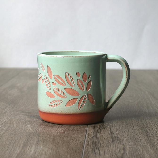 Tea Leaves Plant Mug - Pistachio Green Farmhouse style sgraffito wheel-thrown ceramic pottery by BreadandBadger