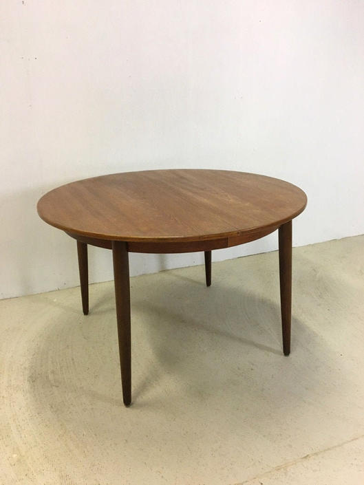 Morredi Round Danish Modern Teak Dining Table with Leaves by retrocraftdesign