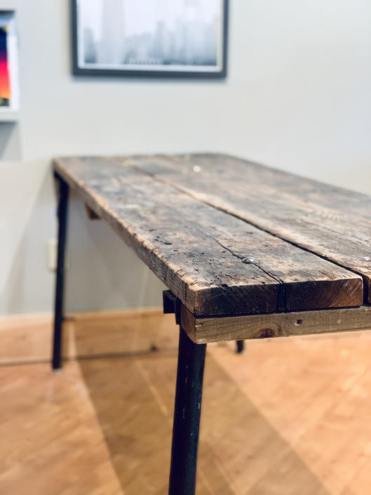 7 Foot Farm Table | Antique Reclaimed Wood Table | Farm Table | Rustic Industrial Table | Pipe Leg Table | Console Table by PiccadillyPrairie