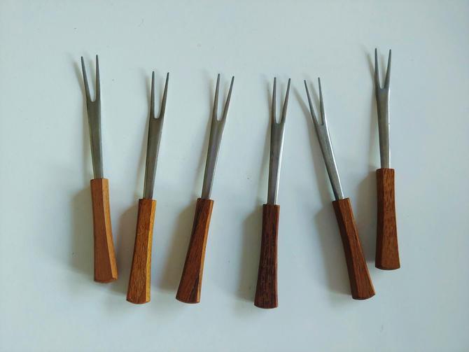 Vintage Stainless Cocktail Forks With Teak Handles by Otagiri Japan Original Box by ModandOzzie