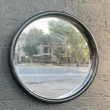 80s Black Round Mirror by interDesign