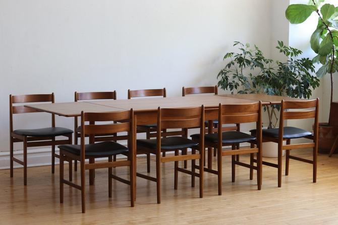 Mid Century Danish Modern 8 Chair Teak Dining Set by SharkGravy