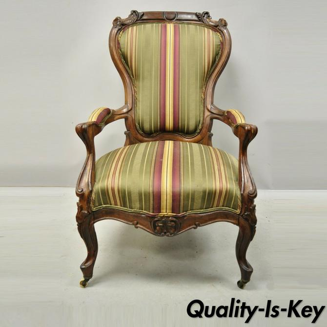 Antique Eastlake Victorian Carved Rosewood Parlor Balloon Back Arm Chair