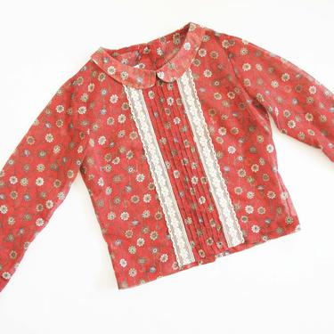 Vintage 60s Floral Blouse S - 1960s Floral Print Long Sleeve Top - Lace 60s Shirt  Rust Red Peter Pan Collar Blouse Button Back by MILKTEETHS