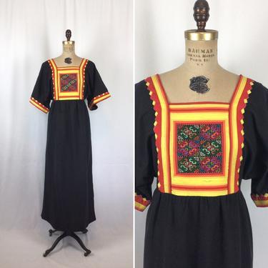 Vintage 70s dress | Vintage black cotton boho dress | 1970s Hmong embroidered dress by BeeandMason