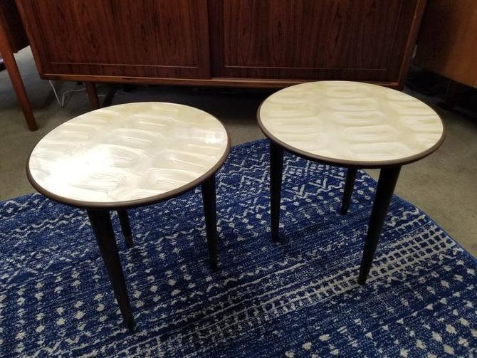 Pair Of Mid Century Modern Round Side Tables From Peg Leg