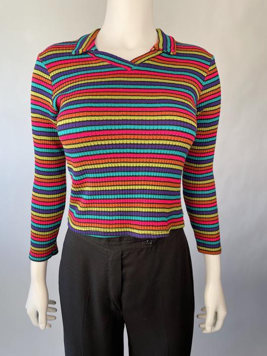 Rainbow Ribbed Crop Top