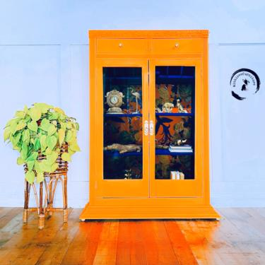 Neon Bookshelf/ Curio Cabinet on wheels / Glass doors/ Storage Cabinet / Bar/ Colorful entryway/neon furniture. by withlovefurniture10