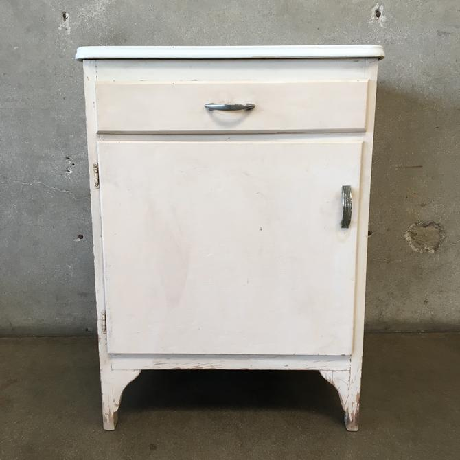 White Cabinet with Enamel Top & Drawer