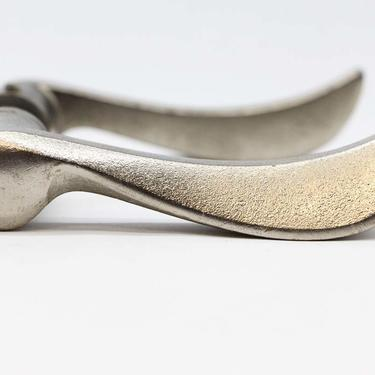 Pair of Nickel Plated Brass Modern Lever Door Knobs