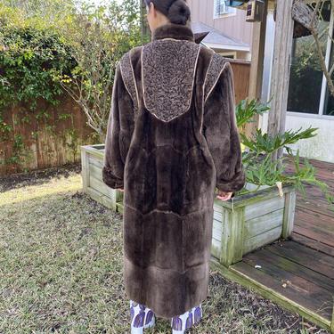 Vintage 80s Beaver fur Mongolian Lamb Plush Glam Oversize Chocolate brown Jacket Coat S M L by prismavintageatx
