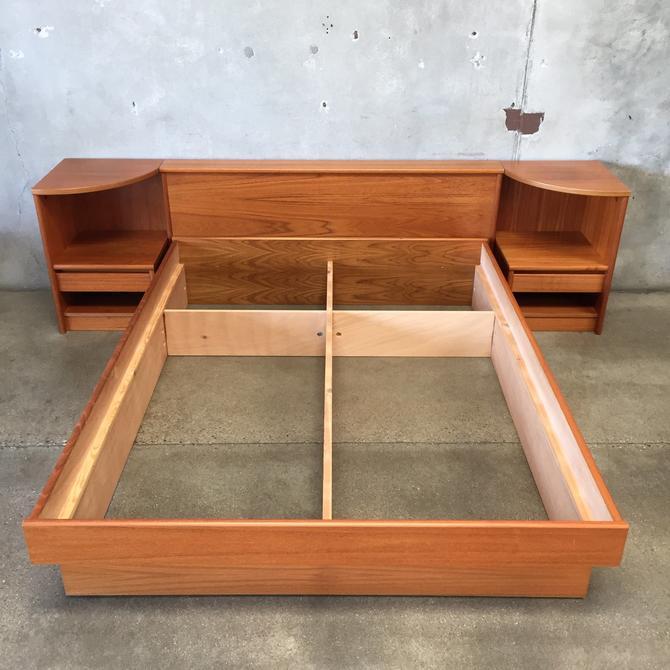 1980's Danish Teak Queen Bed Frame Set