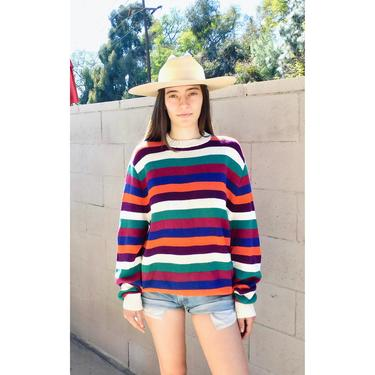 Lifesavers Sweater // vintage rainbow striped slouchy knit hippie dress blouse hippy 80s 90s // O/S by FenixVintage