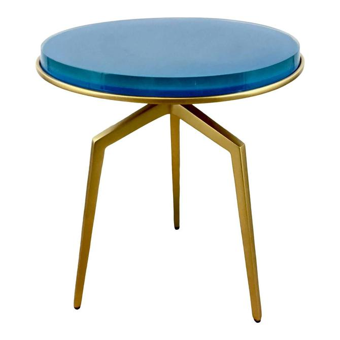 Made Goods Contemporary Aqua and Gold Resin Charl Side Table