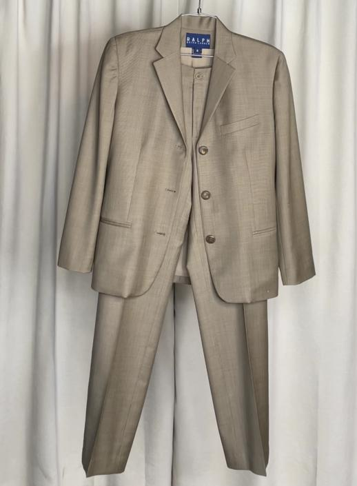 Vintage Designer Ralph Lauren Dark Khaki Suit