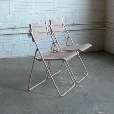 Vintage Wrought Iron Mesh Folding Chairs by Troy Sunshade Co.  (Set of 2) by CoMod