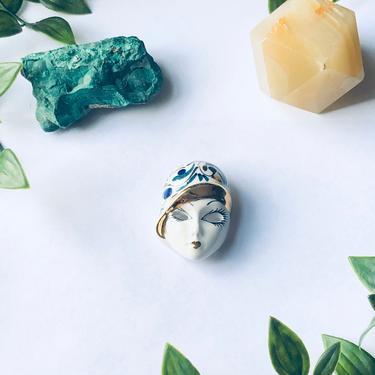Vintage Ceramic Face Brooch, Lady Face Pin, Painted Ceramic Mask Brooch, Swirl Design Brooch, Flapper Brooch, Blue, Green, Gold by shopGoodsVintage