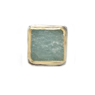 One-of-a-Kind Two-tone Square Aquamarine Ring Set
