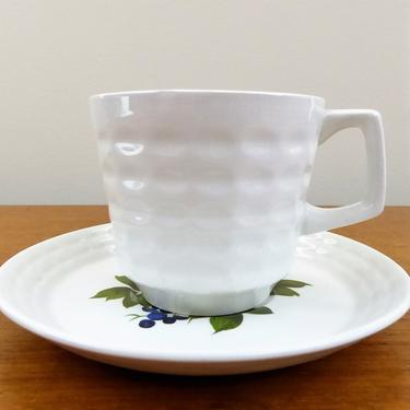 Vintage Myott England Cup & Saucer - Theraud Designs - Keramite - Waffle Pattern with Flowers - GORGE by TheFeatheredCurator