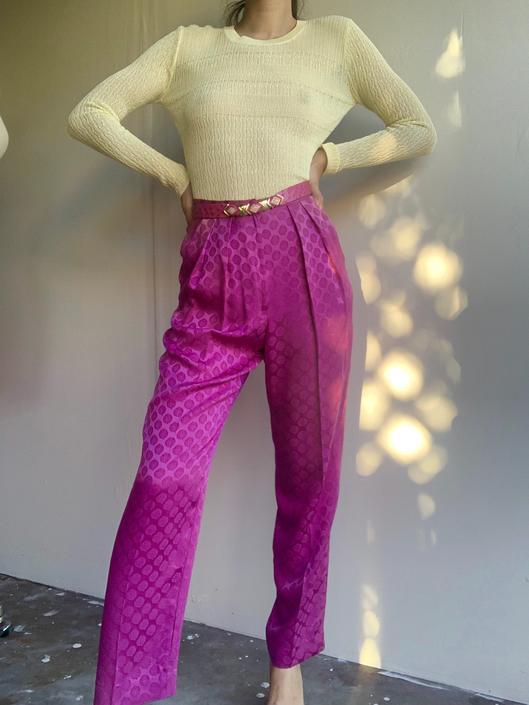 80's Magenta Silk Printed Pants by VintageRosemond
