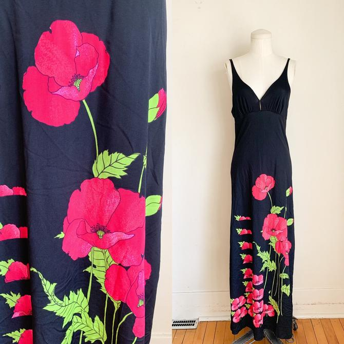 Vintage 1970s Floral Slip Maxi Dress / XS by MsTips