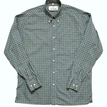 Vintage Made in England VAN HEUSEN Oxford Cloth Button-Down Shirt ~ size M ~ Broadcloth ~ Plaid by SparrowsAndWolves