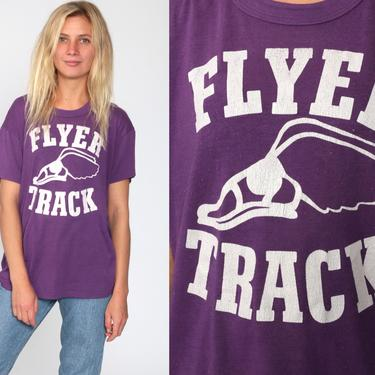 Track and Field Shirt Running Shirt Graphic Tee 80s FLYER TRACK Retro T Shirt Vintage Sports Tshirt Purple Russell Athletic Tee Medium Large by ShopExile