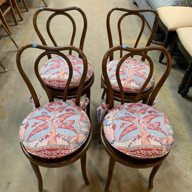 Set of Four Antique 1940s Cafe Chairs by Thonet
