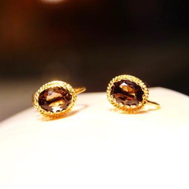 Vintage 14K Smoky Quartz Screw Back Earrings, Dazzling Art Deco Earrings, Faceted Oval Cut Gemstone In Ornate Prong Setting, 10mm x 8mm by shopGoodsVintage
