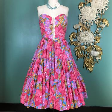 1970s cotton dress, fit and flare, vintage 70s dress, tropical print, lace up corset, full skirt, strapless sundress, 80s does 70s, small by BlackLabelVintageWA