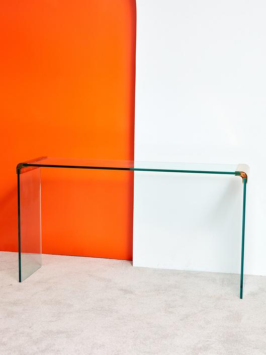 Waterfall Brass and Glass Console Table