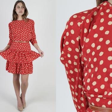 Red Polka Dot Dress / Silk Peplum Tiered Mini Dress / Vintage 80s Cut Out Back / Spotted Beige Cocktail Evening Party Pencil Dress by americanarchive