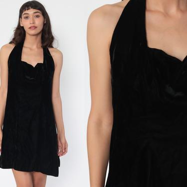 Velvet Mini Dress 90s Black Velvet Dress HALTER Neck Party Low Back 1990s Fit and Flare Cocktail Vintage Minidress Medium 8 by ShopExile