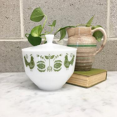 Vintage Grease Jar Retro 1960s Federal Glass + Mid Century Modern + 1 1/2 Qt + Friendship Birds + White Ceramic + Covered Dish + Kitchen by RetrospectVintage215
