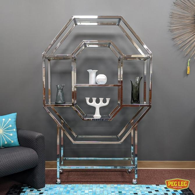 Vintage polygonal etagere with chrome frame and glass shelves