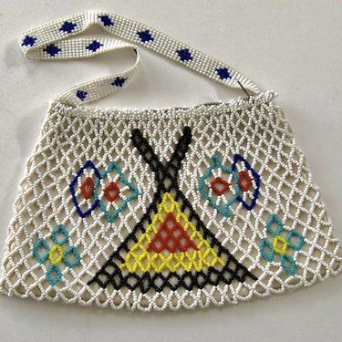 1950s Native American CHIPPEWA OJIBWE Bead Childs' Purse Lattice Thunderbird Tipi Loom Handle Gunflint Trail Souvenir N Minnesota Souvenir by eClectricityVintage