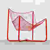 Mod Red Enameled Metal Garden Chair