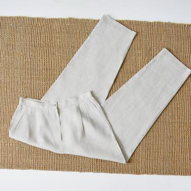 vintage linen trousers, high waisted flax pants, size M by ImprovGoods