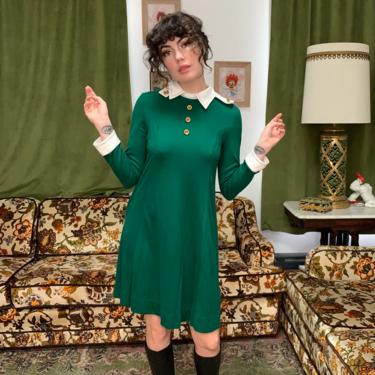 70's FROEST GREEN DRESS - cute collar - large by GlamItToHell