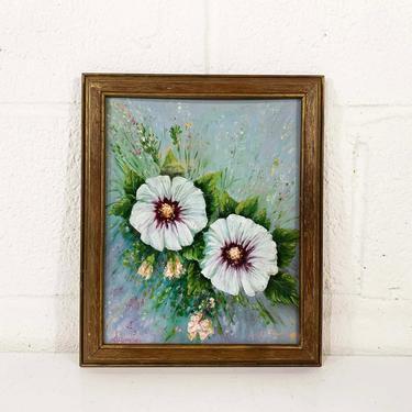 Vintage Framed Original Painting Flowers Green Purple Wood Frame Framed Painted Amateur Folk Art Floral Boho Eclectic 1990s 90s by CheckEngineVintage