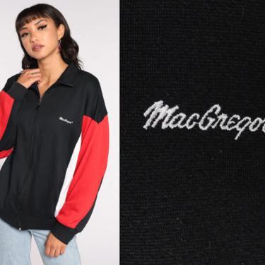 MacGregor Track Jacket 80s Striped Jacket Black Sweatshirt Zip Up Sweatshirt Red White 1980s Sport Vintage Extra Large xl by ShopExile