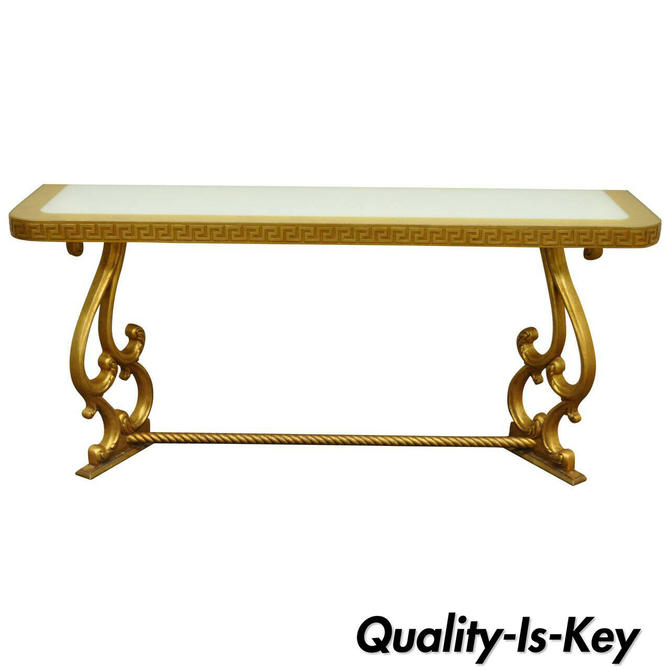 "Vintage Hollywood Regency Gold Leaf Greek Key 66"" Long Glass Top Console Table"