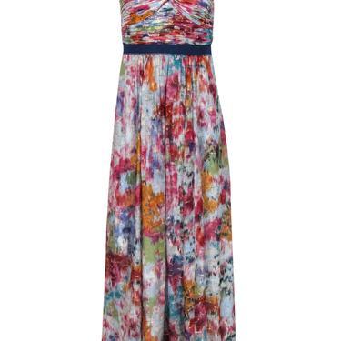 BCBG Max Azria - Multicolored Metallic Watercolor Print One-Shoulder Gown Sz 2