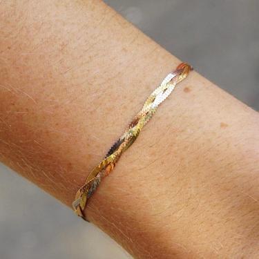 "Vintage Italian 14K Gold Tri-Color Chevron Braided Herringbone Bracelet, 4mm Thick, Silver Copper & Gold Tone Chain Bracelet, 7"" Long by shopGoodsVintage"