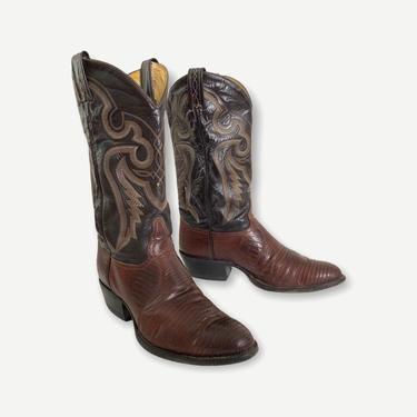 Vintage TONY LAMA 2-Tone Lizard Skin Cowboy Boots ~ size 10 D ~ Western ~ Rockabilly ~ Biker ~ by SparrowsAndWolves