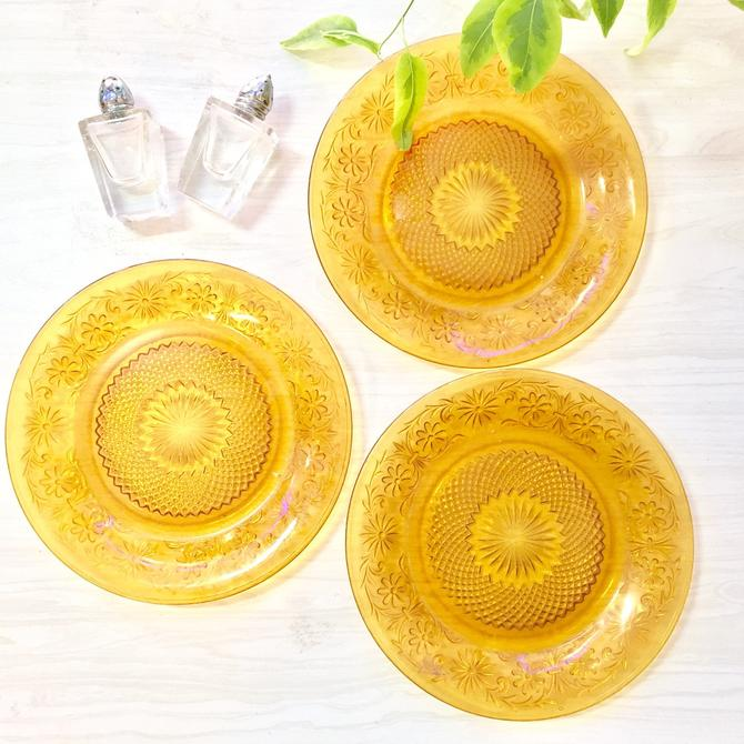 Etched Yellow Dishes, Set of Three Dishes, Kitchen, Glass, Yellow, Vintage, Vintage Home Decor, Etched Glass, Dessert, Serving, Dining by shopGoodsVintage