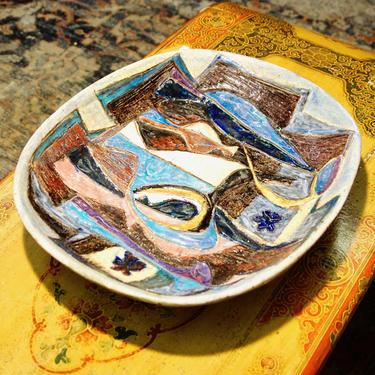 Vintage 1955 Mid-Century Modern Abstract Glazed Ceramic Centerpiece Plate, Large Heavy Handmade Ceramic Platter, Craft Ceramics by shopGoodsVintage