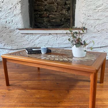 Mid century coffee table Danish modern coffee table mid century teak tile top table by VintaDelphia
