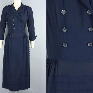 1940s R&K Originals Dress   Vintage 40s Dark Blue Rayon Crepe Dress with Horizontal Pleated Skirt   small by RelicVintageSF