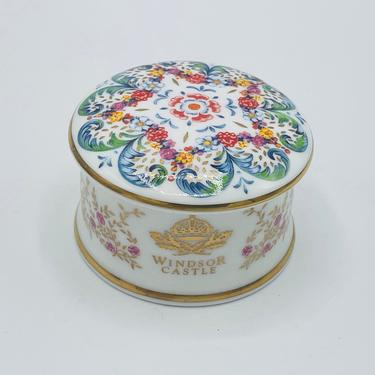 NEWHALL Staffordshire Bone China Trinket Box England Cottage House & Gardens- Mint Condition by JoAnntiques